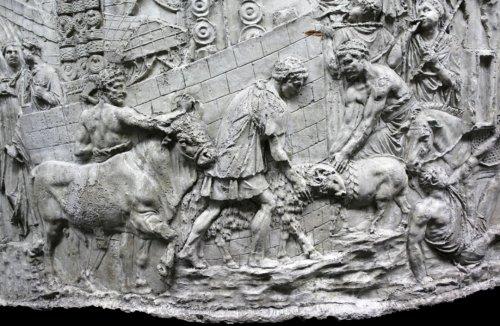 Animais sendo sacrificados pelos romanos. (X/VIII: Suovetaurilia Cena 8)
