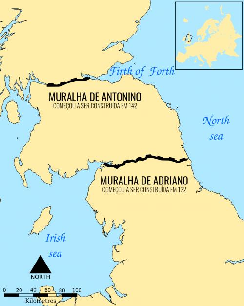 As muralhas romanas na Grã Bretanha.