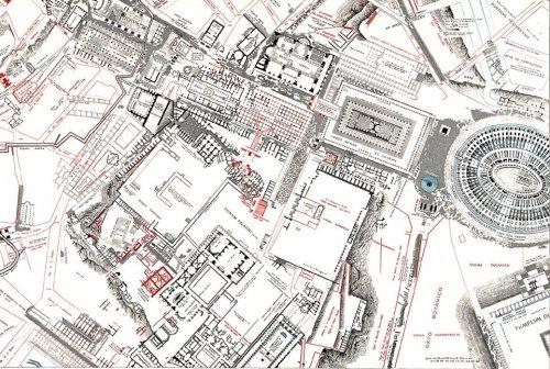 Rodolfo Lanciani é autor de alguns dos mapas mais complexos já produzidos da Roma Antiga. Nesse exemplo o fórum romano está em destaque, com o Coliseu a direita.
