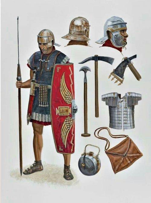 Os soldados romanos utilizavam a malha de ferro como proteção principal. Ilustração de soldado romano produzida por Sean O' Brogain para a obra Legionários romanos de 69-161 d.C, publicado pela editora Osprey. Apenas em inglês.
