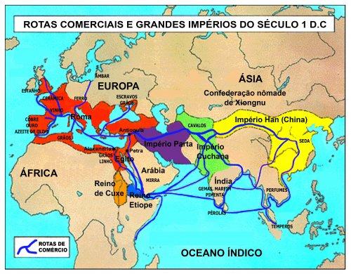 As grandes rotas comerciais do século 1 d.C. na Eurásia e norte da África.