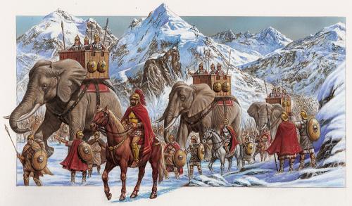 Uma representação moderna retratando a passagem do exército cartaginês de Aníbal pelos Alpes em 218 a.C.. Autor desconhecido. Observe como as ilustrações modernas costumam exagerar o tamanho dos elefantes, os soldados cartagineses mal chegam a altura dos joelhos dos elefantes.
