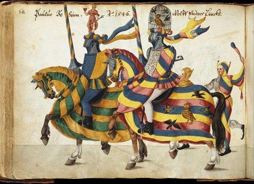 Manuscrito do século 16-17 com reproduções de cavaleiros em torneios realizados em Nuremberg entre 1446 e 1561. MET. N° 22.229