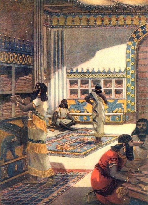 Uma representação moderna da biblioteca de Nínive. Autor desconhecido.