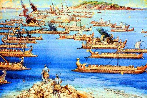 Batalha de Lilibeu entre romanos e cartagineses em 218 a.C. Nessa batalha, que terminou com a vitória romana, os romanos já utilizavam quinquerremes. Aqui eles são representados na esquerda, como fica claro pela uilização do corvus. Ilustração moderna, autor desconhecido.