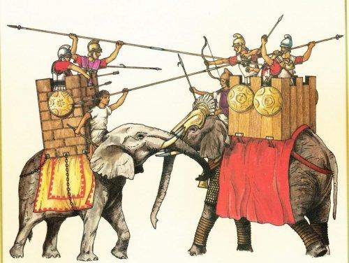 Elefantes de guerra com torres de madeiras ocupadas por lanceiros. Ilustração moderna, autor desconhecido.