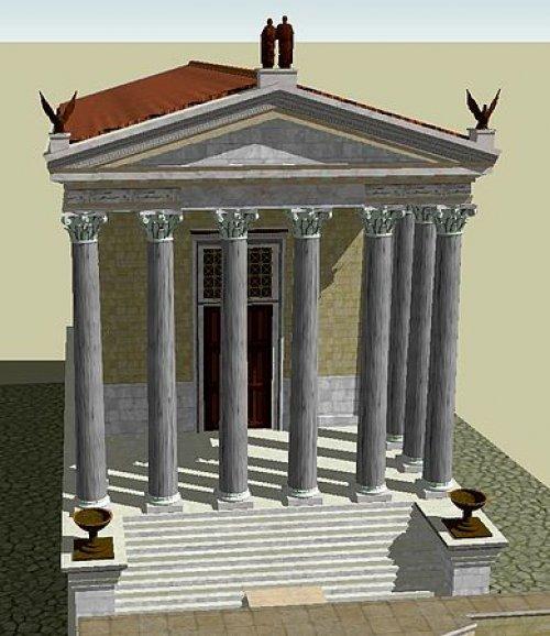 Reconstrução do templo de Antonino Pio Faustina. Hoje em dia apenas a fachada sobreviveu, a parte traseira foi substituída por uma construção posterior. Via Wikimedia Commons.