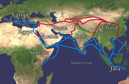 A famosa Rota da Seda, uma rota comercial que ligava o oriente ao ocidente desde a antiguidade. Via Wikimedia Commons.