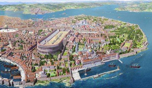 Uma recrição moderna da cidade de Constantinopla.