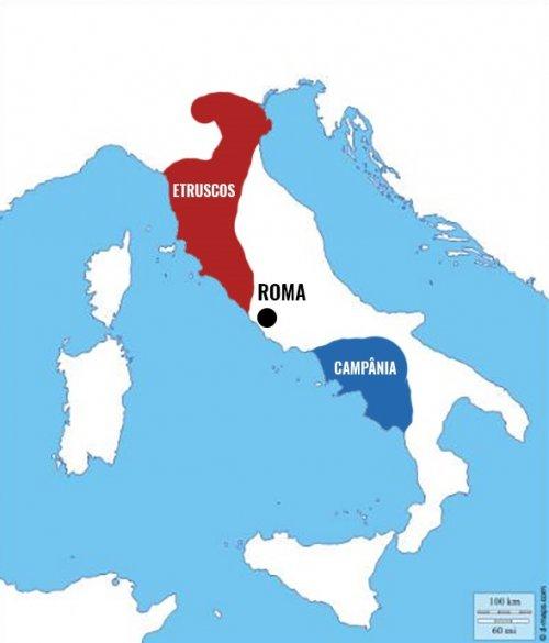 Um mapa aproximado da localização da Etrúria e da Campânia na Península Itálica.
