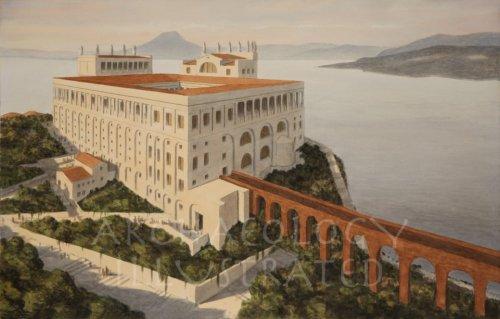 O palácio de Tibério na ilha de Capri, conhecido como Vila de Júpiter. Reconstrução do site Archaeology Illustrated.