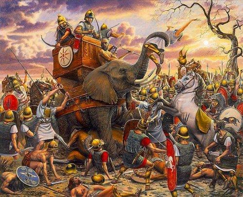 Elefante cartaginês sendo atacado por soldados romanos na batalha de Zama. Ilustração moderna, autor desconhecido.