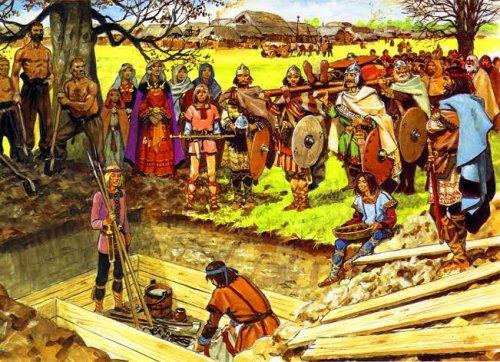 Reconstituição de um funeral germânico. Ilustração moderna, autor desconhecido.