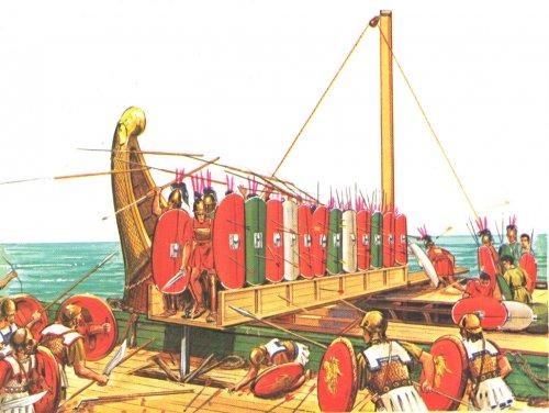 Nas Guerras Púnicas (século 3 a.C.) os romanos desenvolveram o Corvus. Como os cartagineses eram mais habilidosos nas manobras no mar, os romanos criaram uma rampa que poderia ser baixada sobre os navios inimigos, assim as batalhas navais eram praticamente transformadas em batalhas de infantaria.