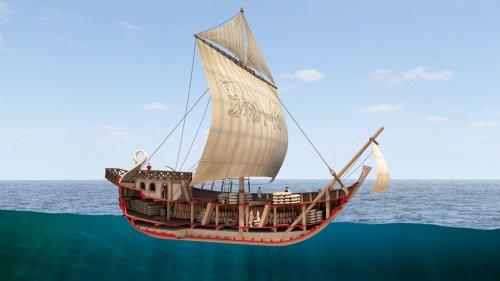 Essa reconstrução de um navio mercante romano mostra um corte lateral para a visualização de sua carga. Autor desconhecido.