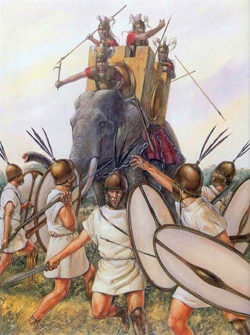 Durante a Guerra Pírrica (280-275) o exército de Pirro de Epiro usou elefantes contra os romanos. Ilustração moderna autor desconhecido.