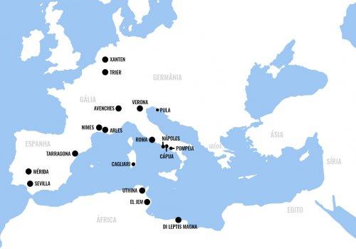 A localização das arenas romanas citadas nesse artigo.