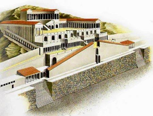 Reconstrução do Templo da Fortuna Primigênia, Palestrina, Itália. Ilustração moderna, autor desconhecido.