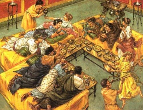 Um banquete romano. Ilustração moderna, autor desconhecido.