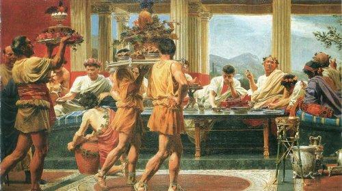 Pintura de Anton Von Werner (1843-1915) retratando a opulência de um banquete romano.