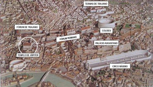 A posição do Templo de Júpiter em relação a outras famosas construções da Roma Antiga.