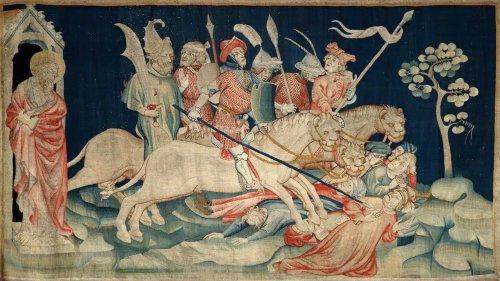 Os Cavaleiros do Apocalipse retratados na Tapeçaria do Apocalipse, produzida entre 1377–1382.