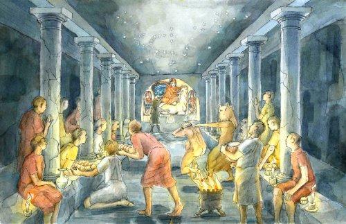 Reconstituição de como poderia ter sido o mithareum no seu formato original. Aqui os membros do culto estão celebrando juntos. Arte moderna de Judith Dobie.