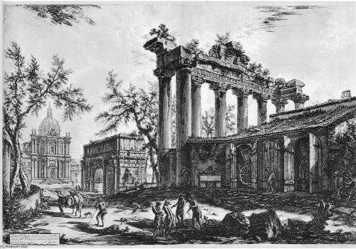 As ruínas do fórum romano segundo ilustração de Giovanni Battista Piranesi (1720-1778).