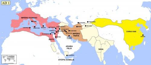 Principais cidades envolvidas nas rotas comerciais orientais no século 1 d.C. Localizações aproximadas. Também marquei algumas cidades dentro do Império Romano para uma melhor compreensão das localizações.