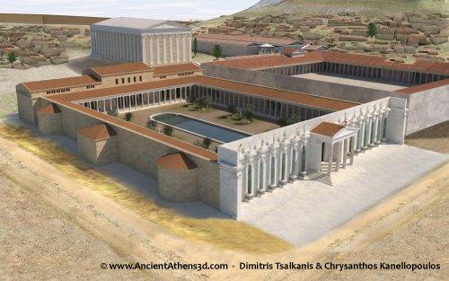 Uma reconstrução da biblioteca que Adriano construiu em Atenas durante seu reinado. Algumas partes do prédio ainda estão de pé.