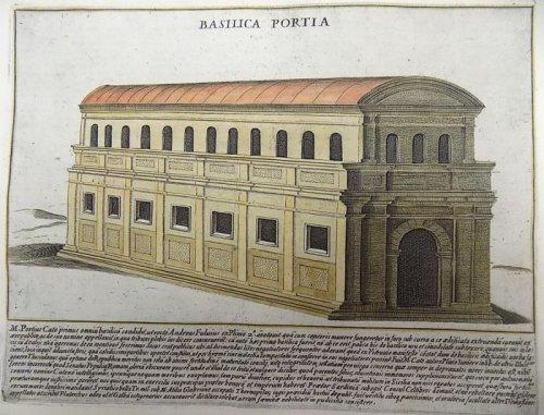 A basílica Pórcia imaginada em ilustração de Giacomo Lauro feita no século 17.