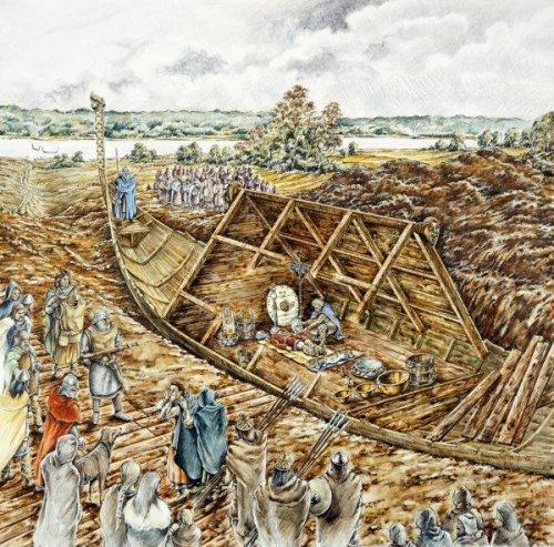 Ilustração moderna mostrando uma reconstrução da tumba de Sutton Hoo, construída no século 6 e 7.
