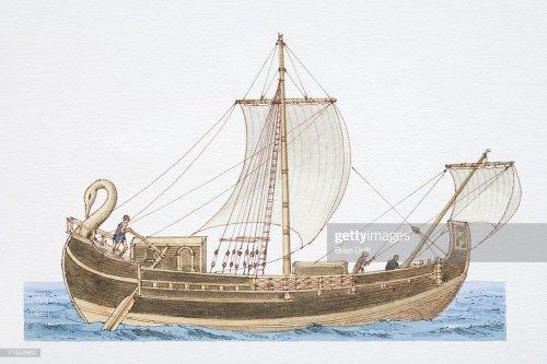 Esse modelo de barco mercante era conhecido como corbita. Ilustração moderna, autor desconhecido.