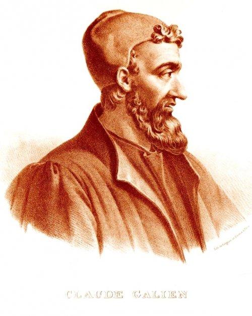 Cláudio Galeno de Pérgamo, o famoso médico grego do período romano. Desenho produzido em 1865 pelo francês Pierre Roche Vigneron. Via Wikimedia Commons.