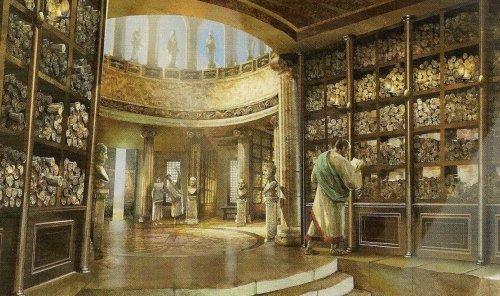 Uma representação moderna da antiga biblioteca de Alexandria. Autor desconhecido.