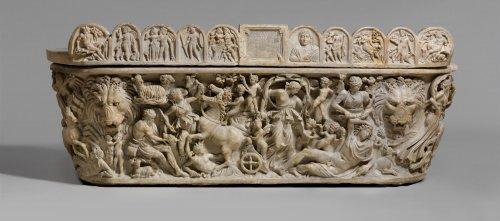Sarcófago de uma mulher chamada Arria do século 3. Os relevos mostram o mito de Endimião e Selene. MET. N° 47.100.4a, b
