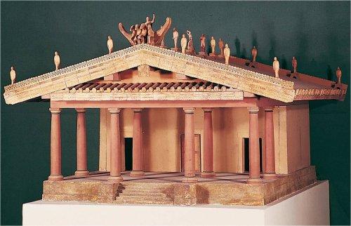Templo de Minerva em Veii (também chamado templo de Portonaccio). Essa reconstrução foi feita a partir das descrições do arquiteto romano Vitrúvio. Museu Nacional Etrusco.