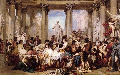 Essa pintura de Thomas Couture (1815-1879) retrata uma orgia romana. Intitulada Romanos da decadência, essa pintura mostra um preconceito comum, a ideia de que os romanos teriam se destruído por sua depravação moral. No entanto, as histórias mais exóticas sobre imperadores e suas orgias, são do período de auge do Império.