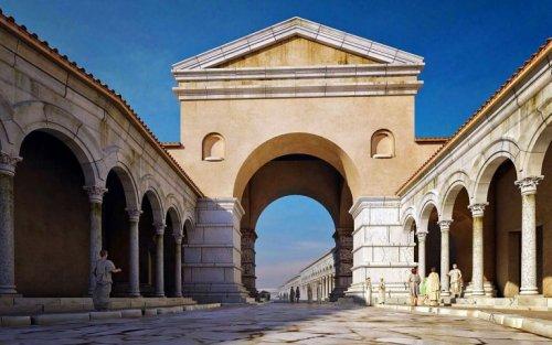 Essa reconstrução do site inthessaloniki mostra como o Arco de Galério estava conectado a diversas outras construções.