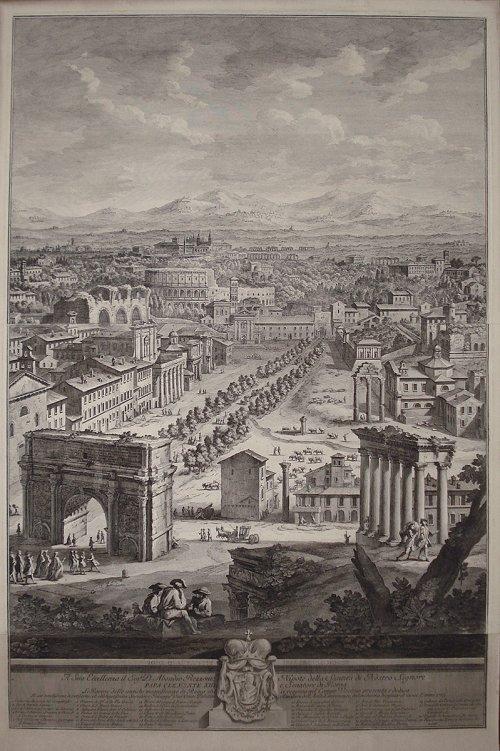 As ruínas do fórum romano segundo ilustração de Giuseppe Vasi (1710-1782).