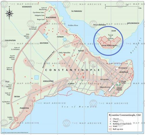 Sycae (Galata) - o local em destaque no mapa - era uma área que ficava do outro lado do estreito conhecido como Corno de Ouro.