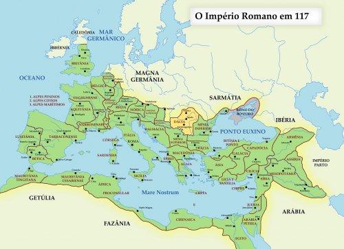 O Império Romano em 117 com a Dácia em destaque.