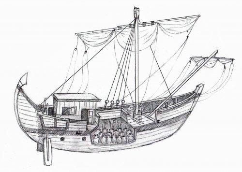 Um diagrama aproximado de um barco mercante romano carregando ânforas. Via Wikimedia Commons. Autor Matthew Jose Fisher.