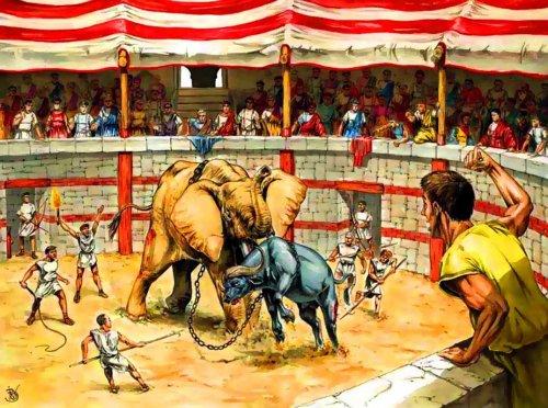 Essa ilustração moderna mostra um elefante lutando contra um búfalo em uma arena romana, para delírio do público. Autor desconhecido.