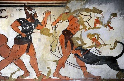 Pintura no túmulo dos Augures na Tarquínia. Cerca de 530 a.C.