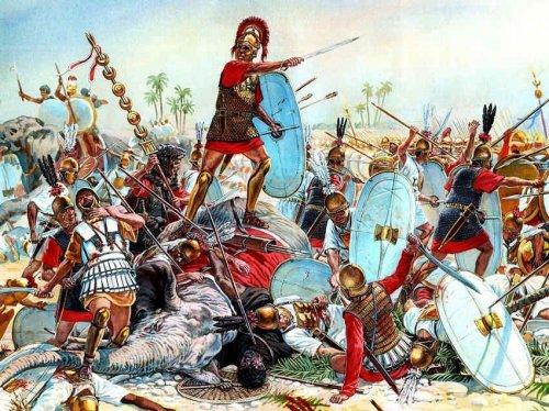 Essa ilustração moderna mostra a Batalha de Trébia entre romanos e cartagineses, uma das derrotas romanas nas Guerras Púnicas. Autor desconhecido..