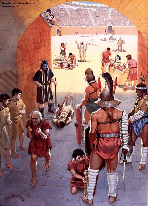 Execução de criminosos (noxii) na arena.