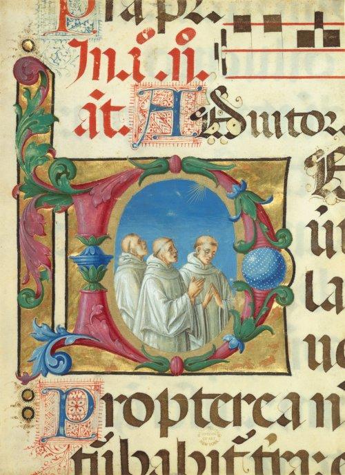 Detalhe de uma iluminura medieval que ilustra um Livro de Salmos.