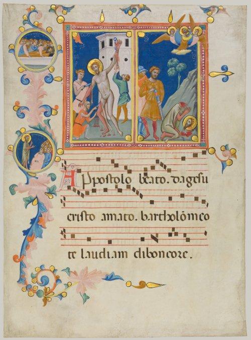 Uma página de um manuscrito medieval do século 14.