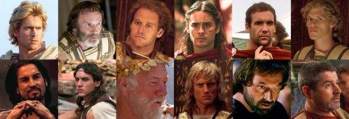 Os generais macedônios (da esquerda para a direita)<br/>Em cima: Alexandre, Parmênion, Ptolomeu, Heféstion, Crátero, Filotas.<br/>Em baixo: Clito, Cassandro, Antípatro (governador da Macedônia), Perdicas, Antígono e Nearco.